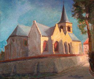 Dorpszicht met kerk - Olieverf op doek- Pieter Ringoot