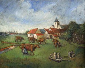 Dorpzicht met kerktoren en koeien - Olieverf op doek- Pieter Ringoot
