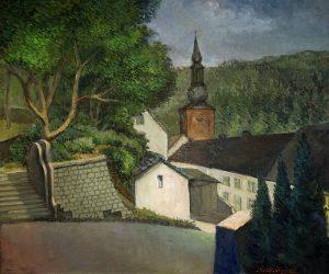 De kerk van Burg-Reuland - olieverf op doek - Pieter Ringoot