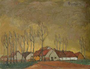 Boerderij - Olieverf op houten paneel - Pieter Ringoot