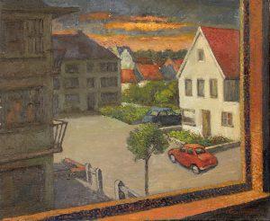 De Panne, zicht vanuit het raam - olieverf op doek - Pieter Ringoot