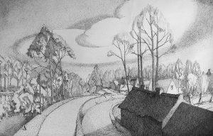 Vlassenbroek langs de Schelde - pen op papier - Pieter Ringoot