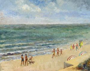 Strandzicht de Panne - Olieverf op doek - Pieter Ringoot