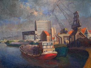 De oude haven van Dendermonde - Olieverf op doek - Pieter Ringoot
