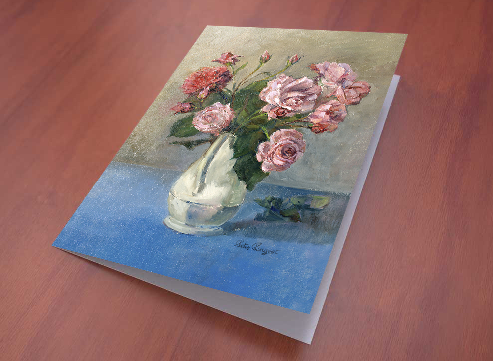 Kunst wenskaart rozen voorbeeld